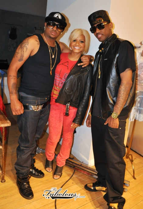 TheDream, Fabolous & Christina Milian on set of the video. Tank tops now, huh Dream?